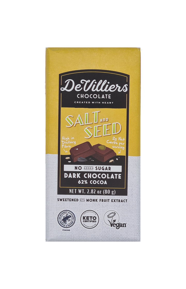 No Added Sugar Salt and Seed Dark Chocolate Bar - De Villiers Chocolate
