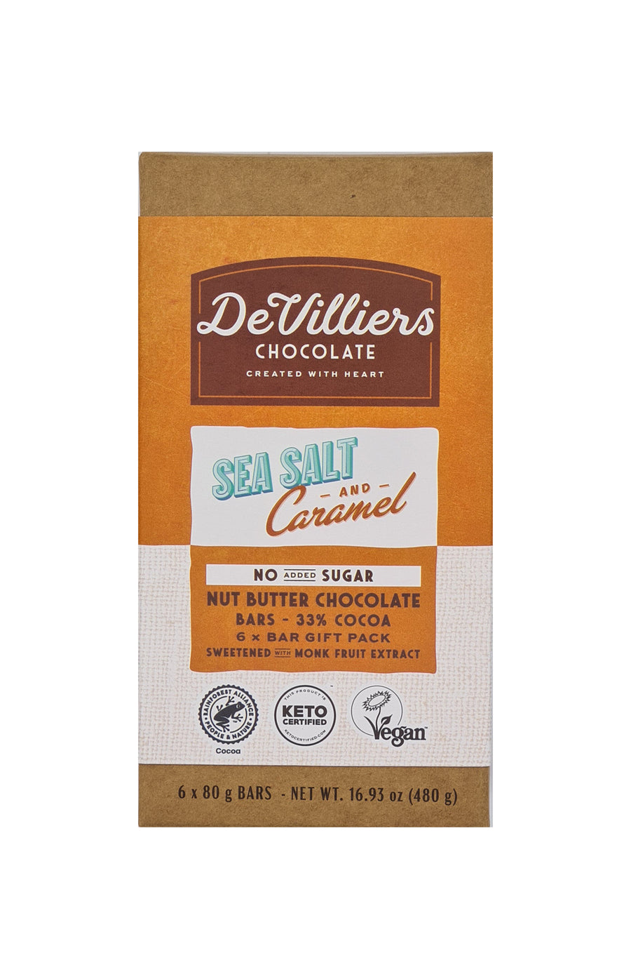 No Added Sugar Sea Salt and Caramel Nut Butter Chocolate Bar - De Villiers Chocolate