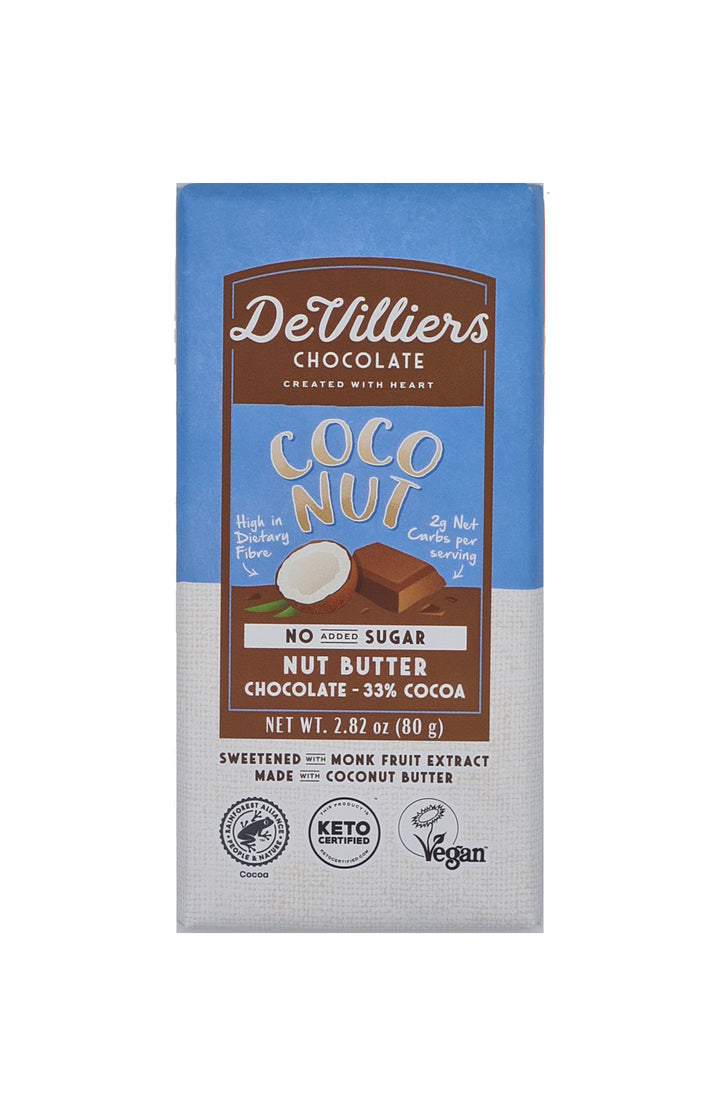 No Added Sugar Coconut Nut Butter Chocolate Bar - De Villiers Chocolate