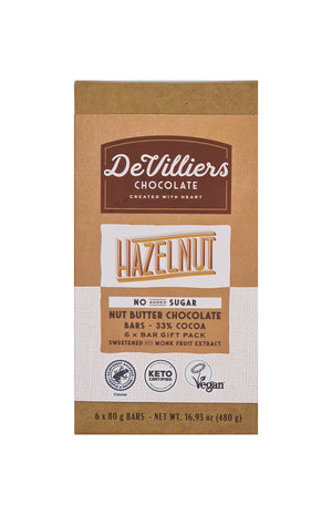 No Added Sugar Hazelnut Nut Butter Chocolate Bar - De Villiers Chocolate