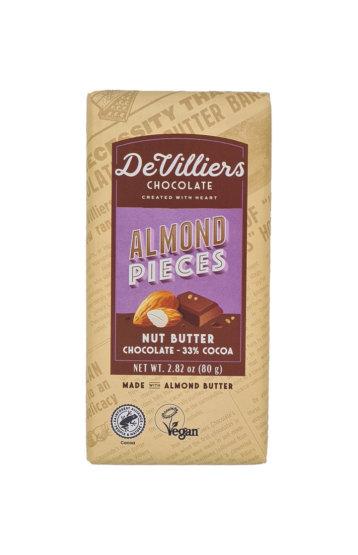 Almond Nut Butter Chocolate Bar - De Villiers Chocolate