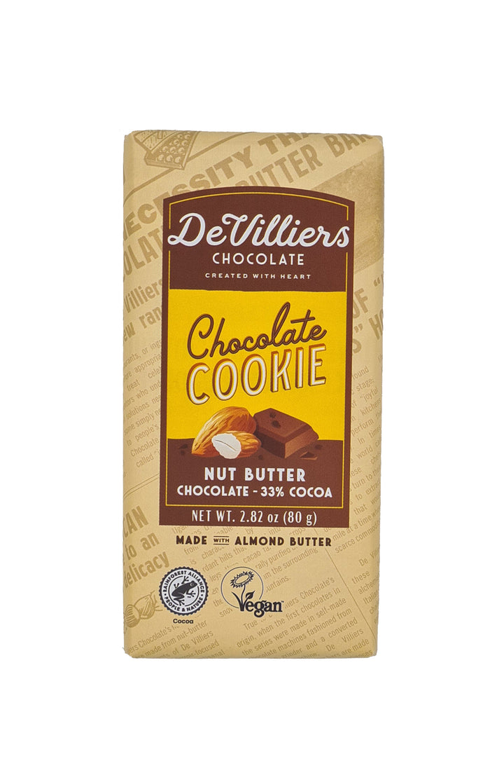 Chocolate Cookie Nut Butter Chocolate Bar - De Villiers Chocolate