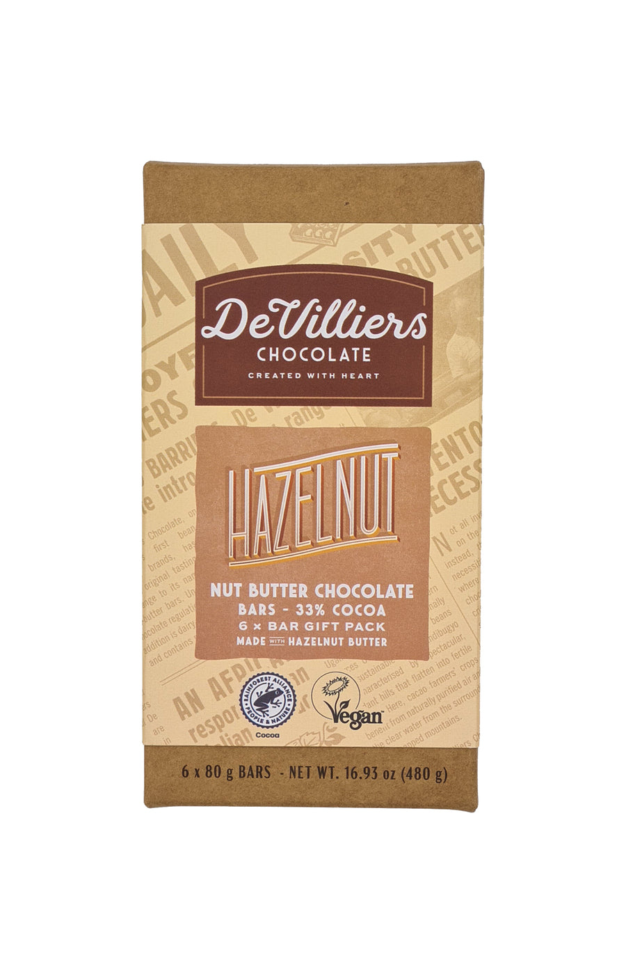 Hazelnut Nut Butter Chocolate Bar - De Villiers Chocolate