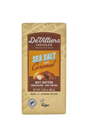 Sea Salt and Caramel Nut Butter Chocolate Bar - De Villiers Chocolate