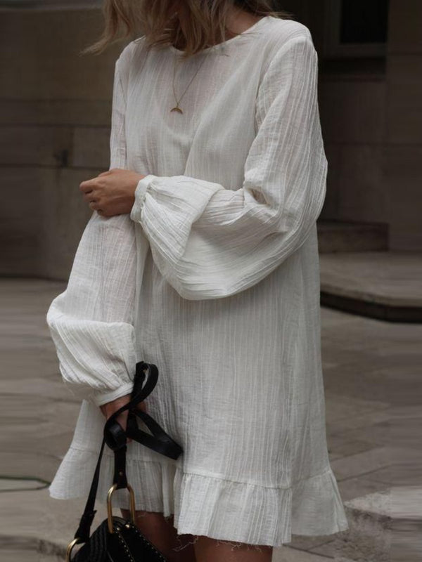 White Long Sleeve Solid Cotton Dresses