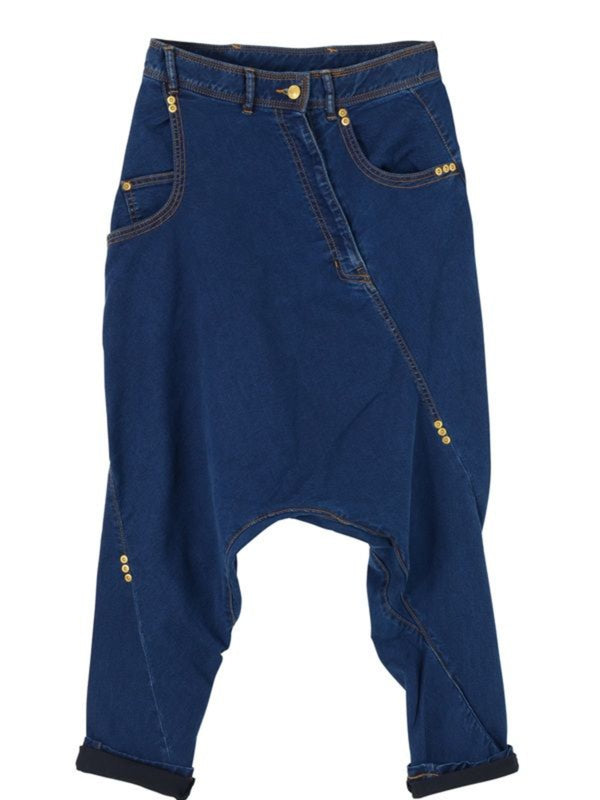 Blue Buttoned Holiday Denim Pants