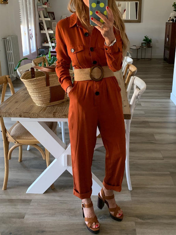 Orange Pockets Solid Cotton-Blend Long Sleeve One-Pieces