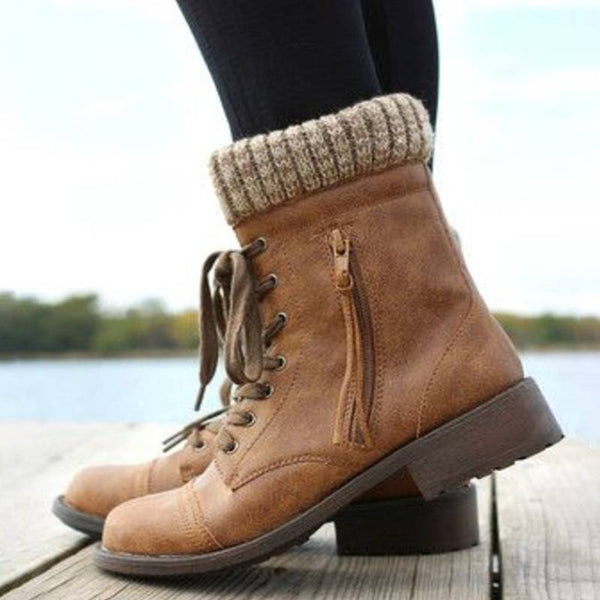 Lace-Up Round Toe Booties