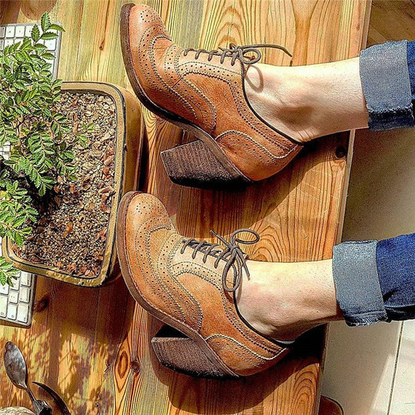 Women Casual Chunky Heel Lace-Up Pu Shoes