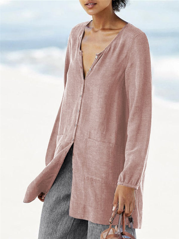 Casual V Neck Plain Long Sleeve Solid Buttoned Linen T-shirt