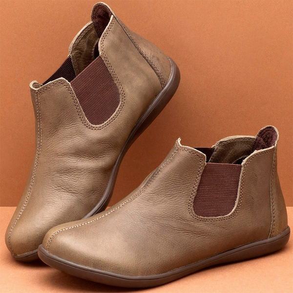 Brown Casual All Season Leather Elastic Band Flat Heel Boots