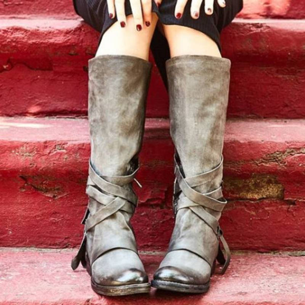 Women Vintage knee-high Boot Shoes