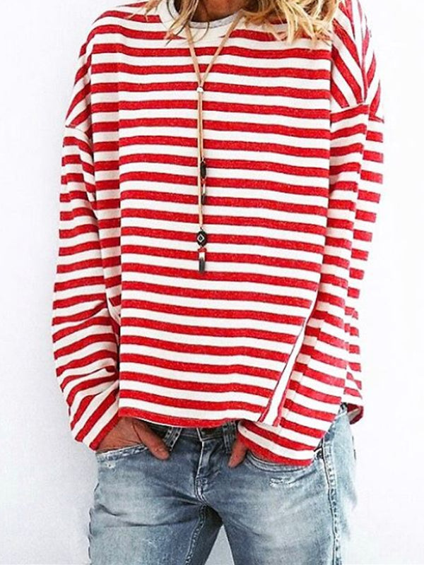 Red Round Neck Sexy Striped Shirts & Tops