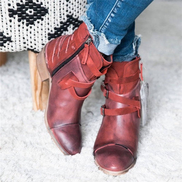Women Vintage Daily Strappy Zipper Booties
