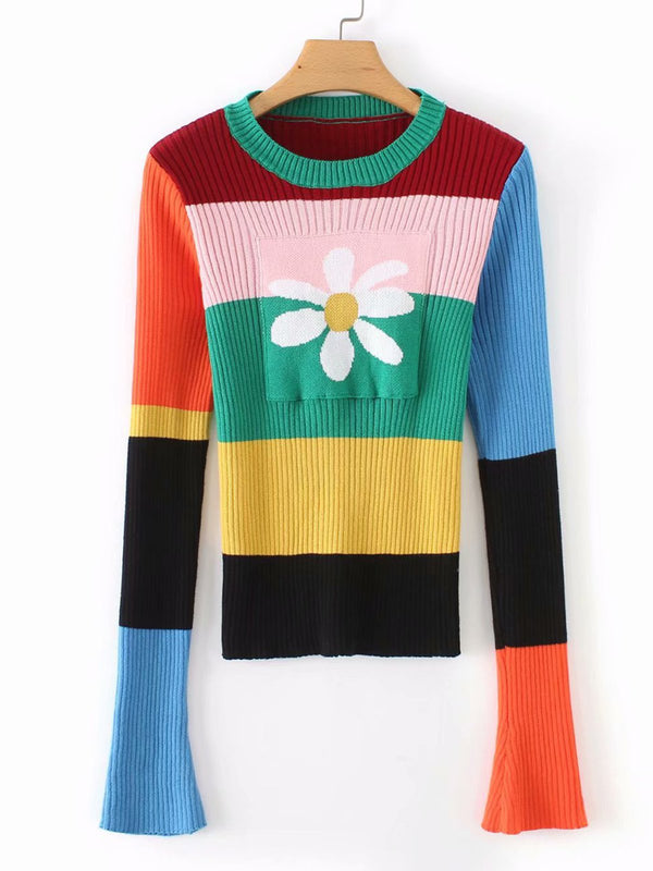 Multicolor Crew Neck Long Sleeve Shirts & Tops