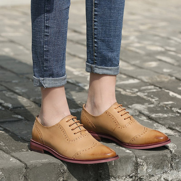 Women's Lace Up Vintage Mixed Color Oxfords Low Heel Shoes