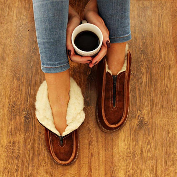 Women Snow Boots Cotton Artificial Suede Zipper Flat Heel Shoes