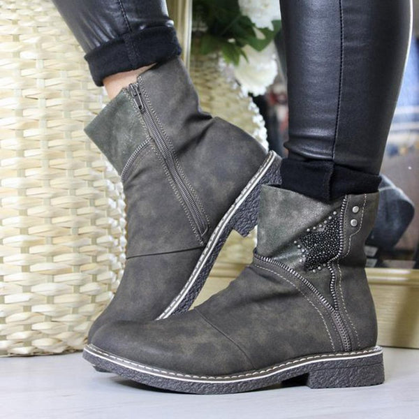 Women Round Toe PU Low Heel Casual Spring Zipper Ankle Boots