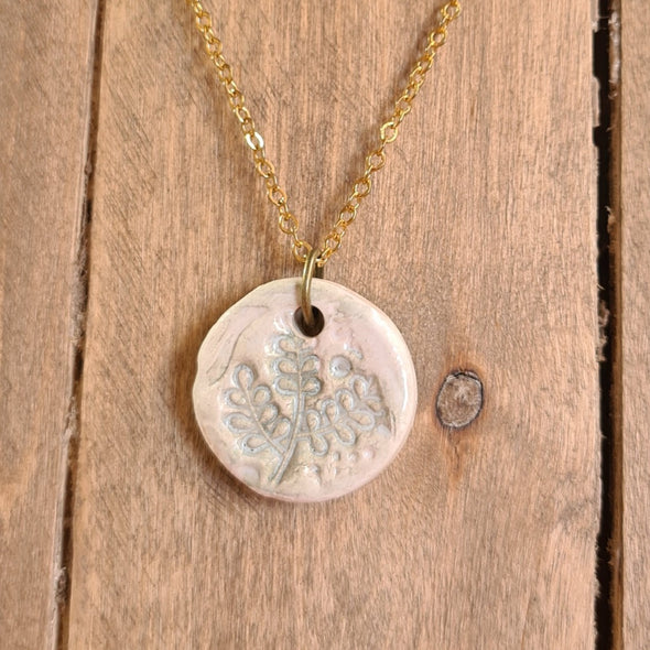 Ceramic Fern Essential Oil Diffuser Necklace