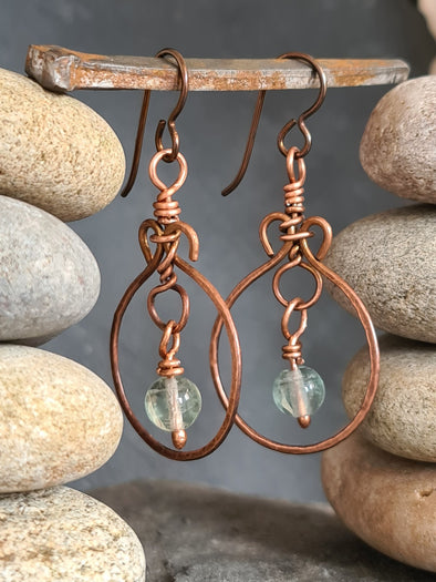Hammered copper and fluorite earrings