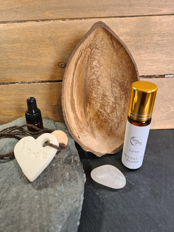 Essential oil wellbeing set in coconut shell
