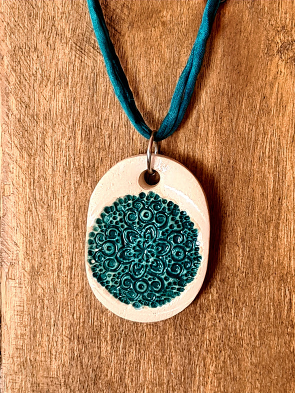 Glazed Ceramic Mandala Pendant Necklace