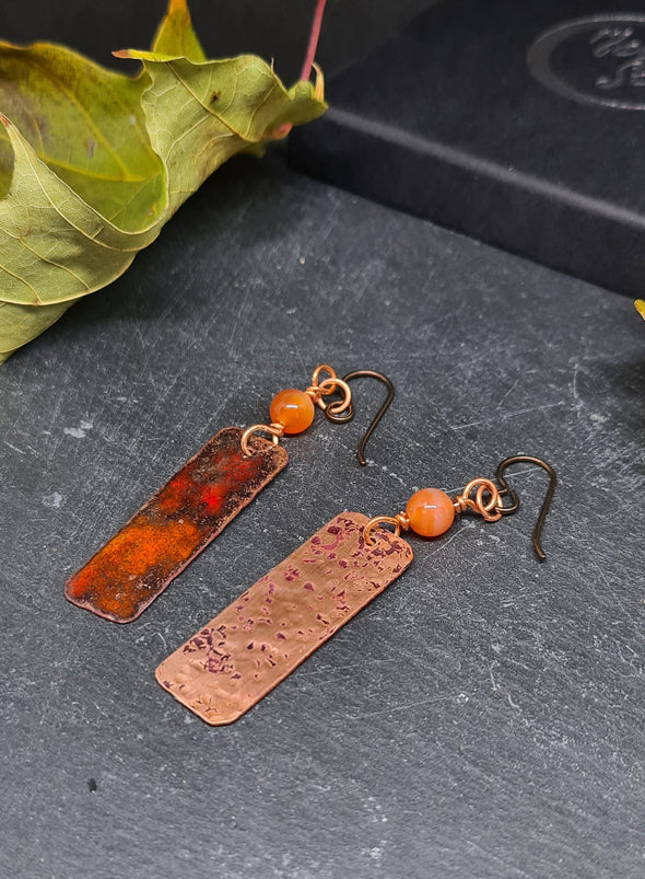 Fiery enamelled copper and carnelian earrings