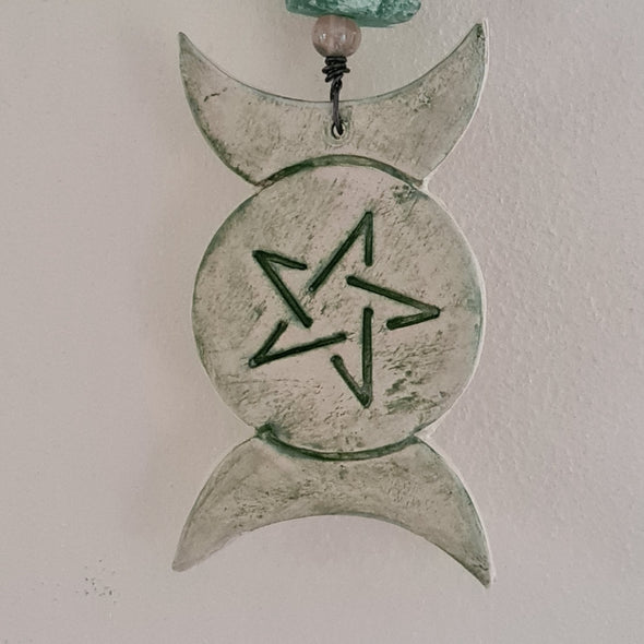 Ceramic triple moon wall hanging