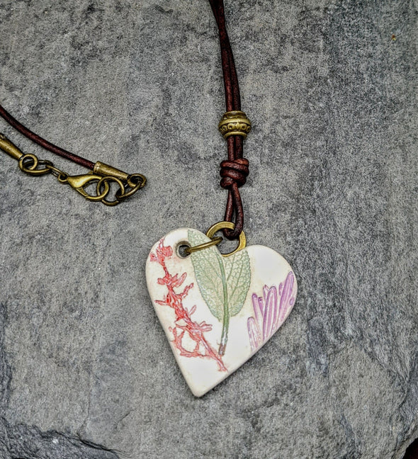 Glazed ceramic leaf necklace