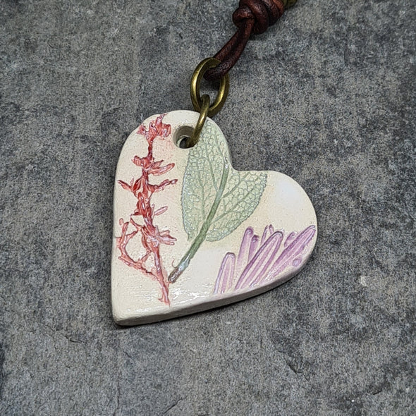 Moonsilver ceramic heart necklace