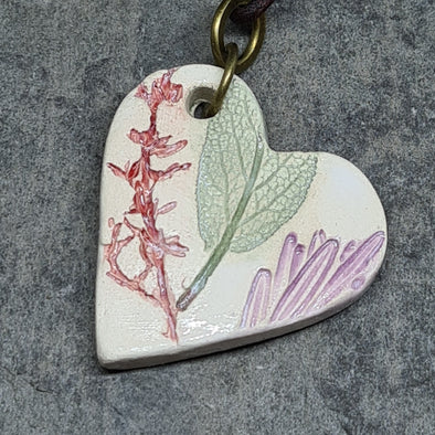 Ceramic leaf imprint pendant