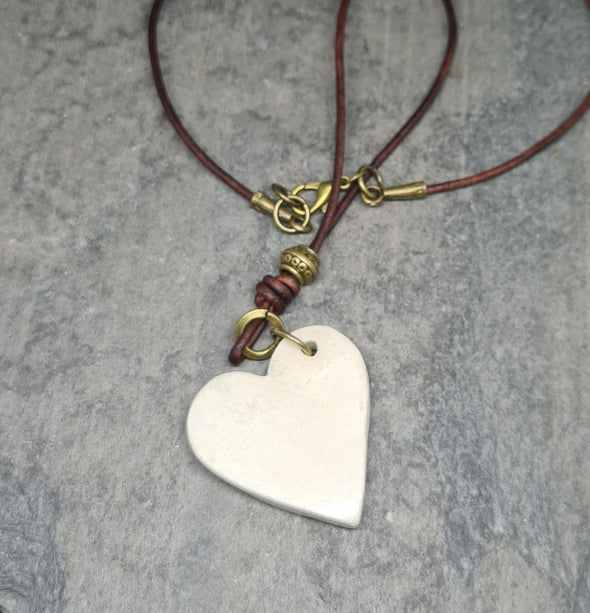 Rear view of ceramic heart necklace