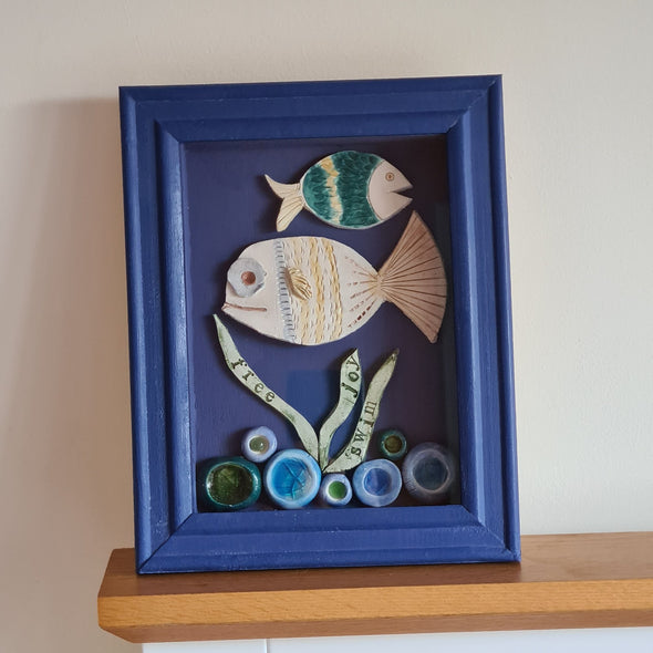 Framed Ceramic Fish Wall Art