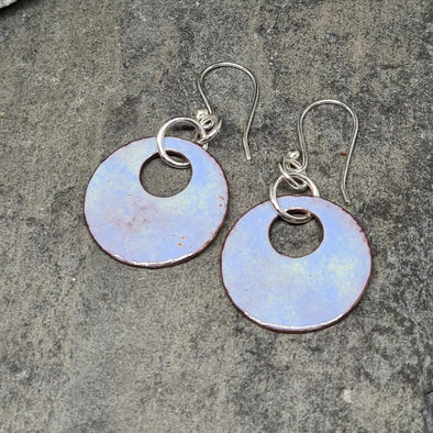 Enamelled Summer Sky Copper Earrings