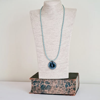 Moonsilver Ceramic and Glass Pendant Necklace