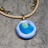 Blue ceramic and glass pendant