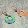 Forest Floor Enamelled Copper and Moss Agate Hoop Earrings