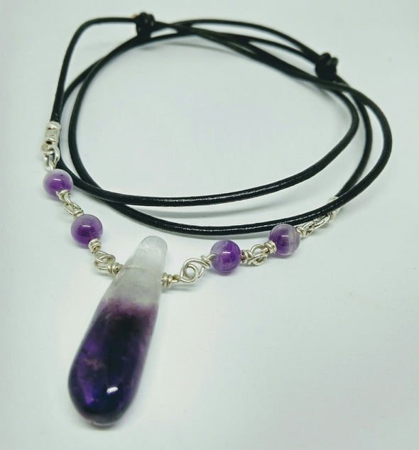 Moonsilver Crystals Amethyst Cord Necklace