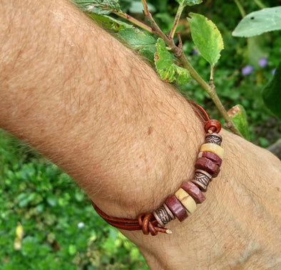 Gemstone cord bracelet for men
