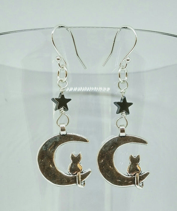 Witchy cat on moon earrings