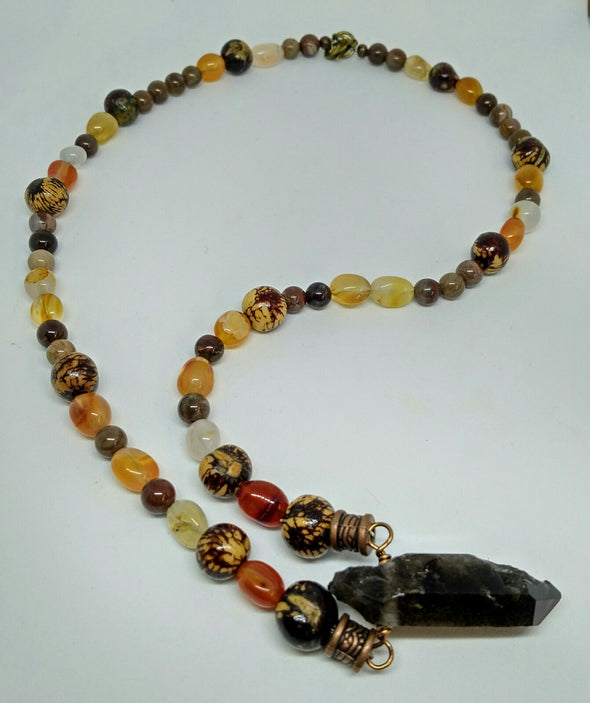Gemstone and acai nut necklace