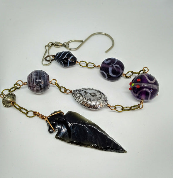 Moonsilver Crystals Obsidian Sun-catcher