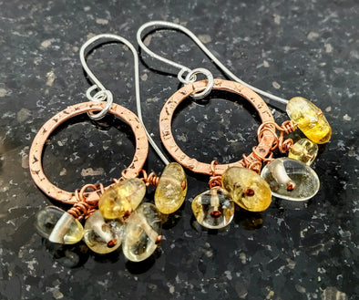 Copper and Citrine Hoop Earrings