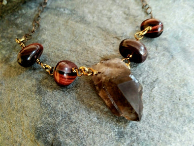 Raw Smokey Quartz and Red Tiger's Eye Necklace