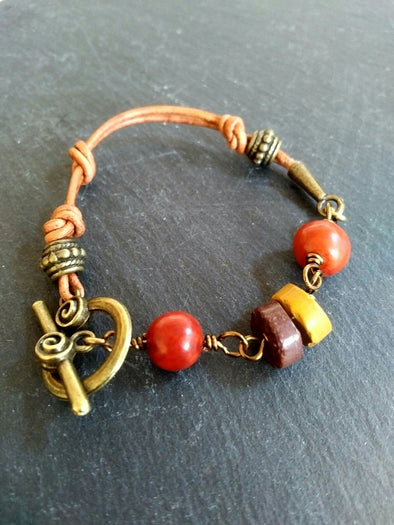 Acai nut and mookaite leather bracelet