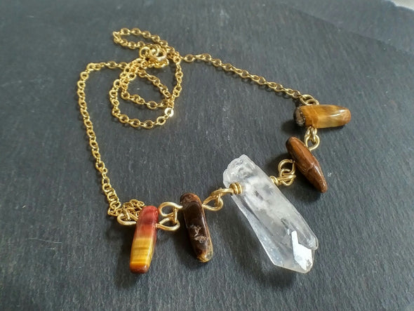 Raw clear quartz point and tiger's eye neclace