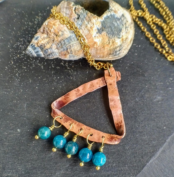 Triangular hammered copper longline necklace