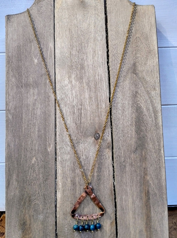 Moonsilver Long copper gemstone necklace