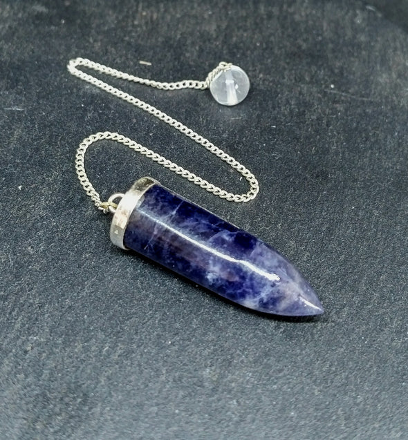 Sodalite Silver Topped Bullet Pendulum