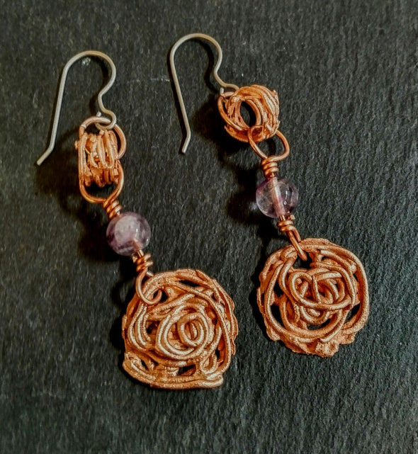 Copper Fluorite Earrings